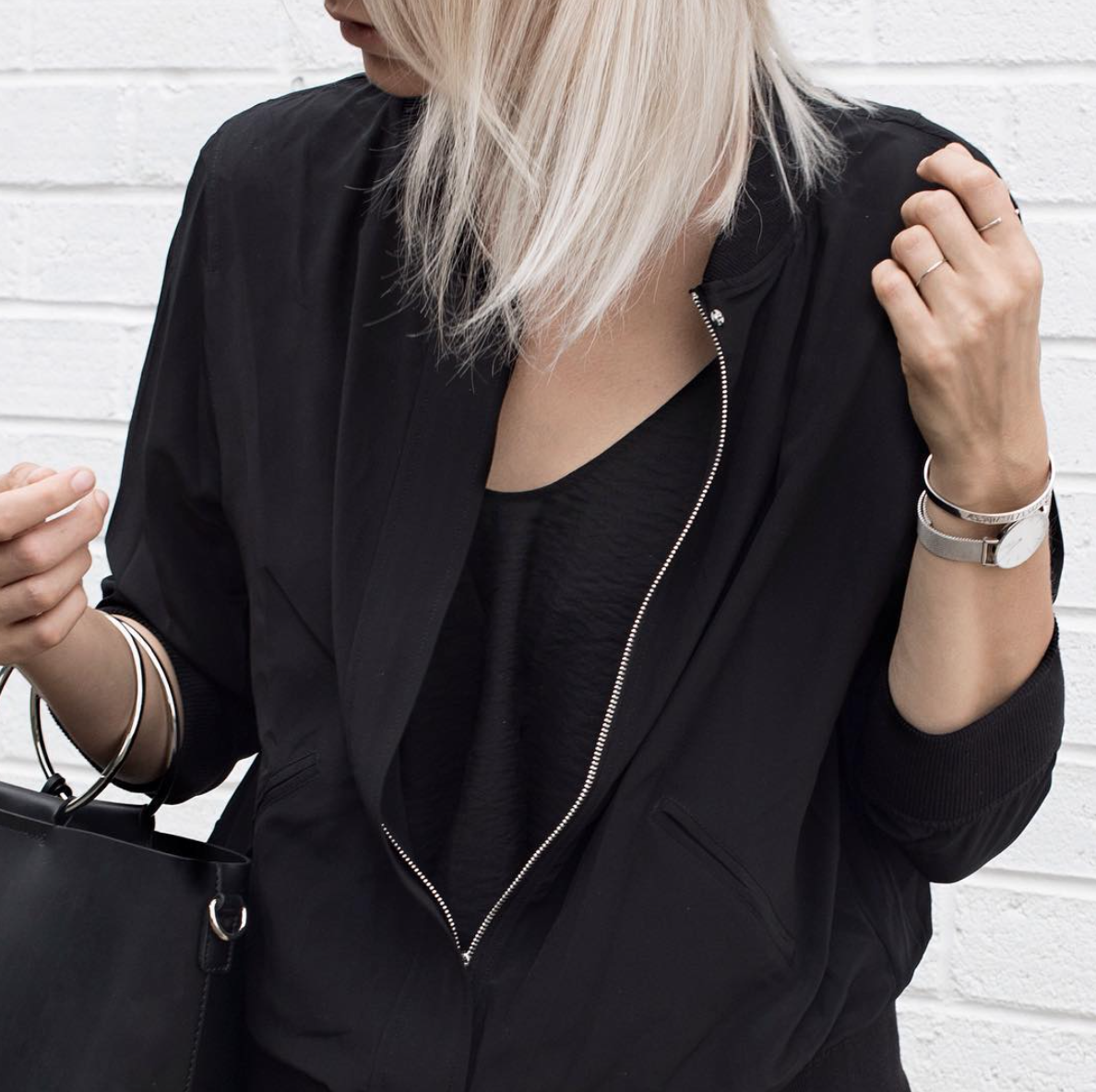 the classic bomber in black on @melo_and_co