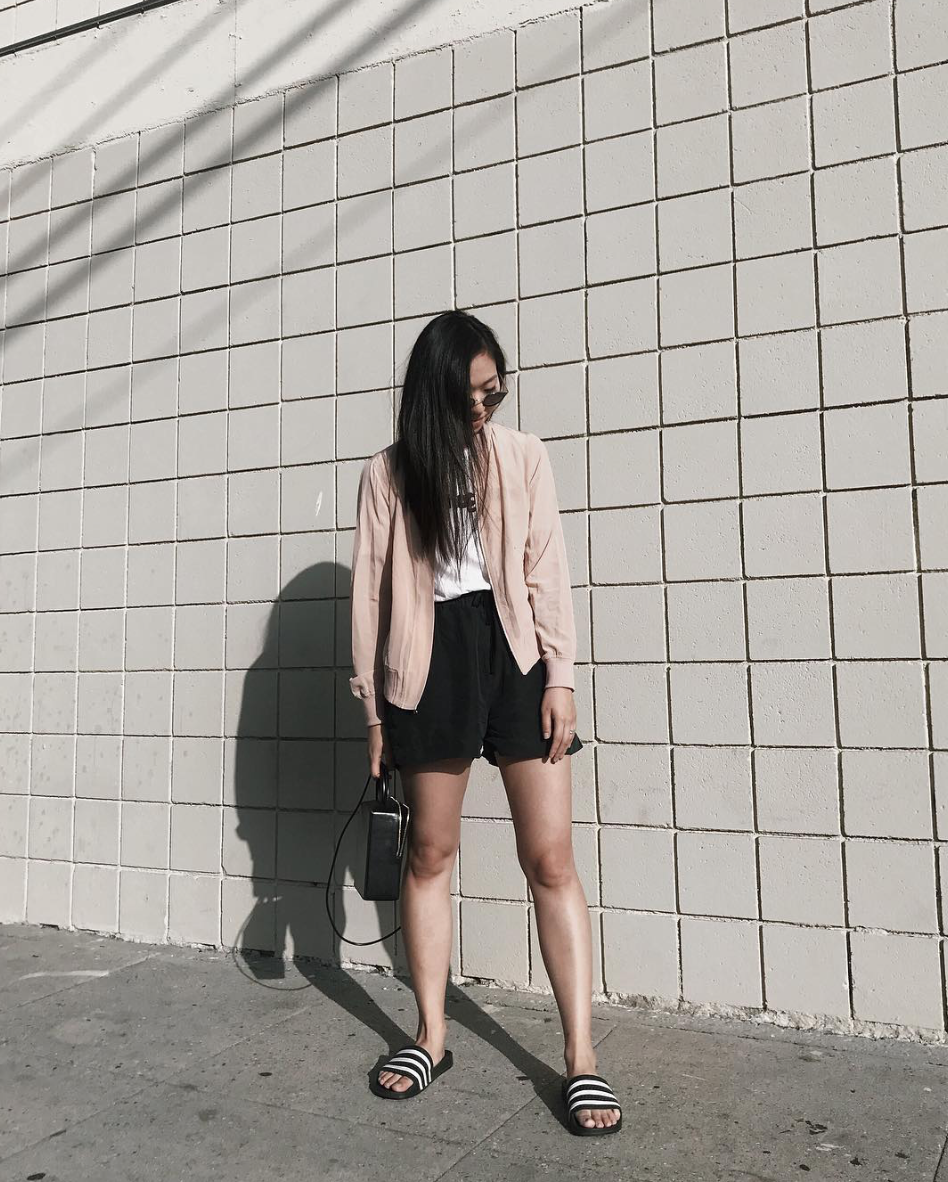 the classic bomber in blush & harper short in black on @amee.kim