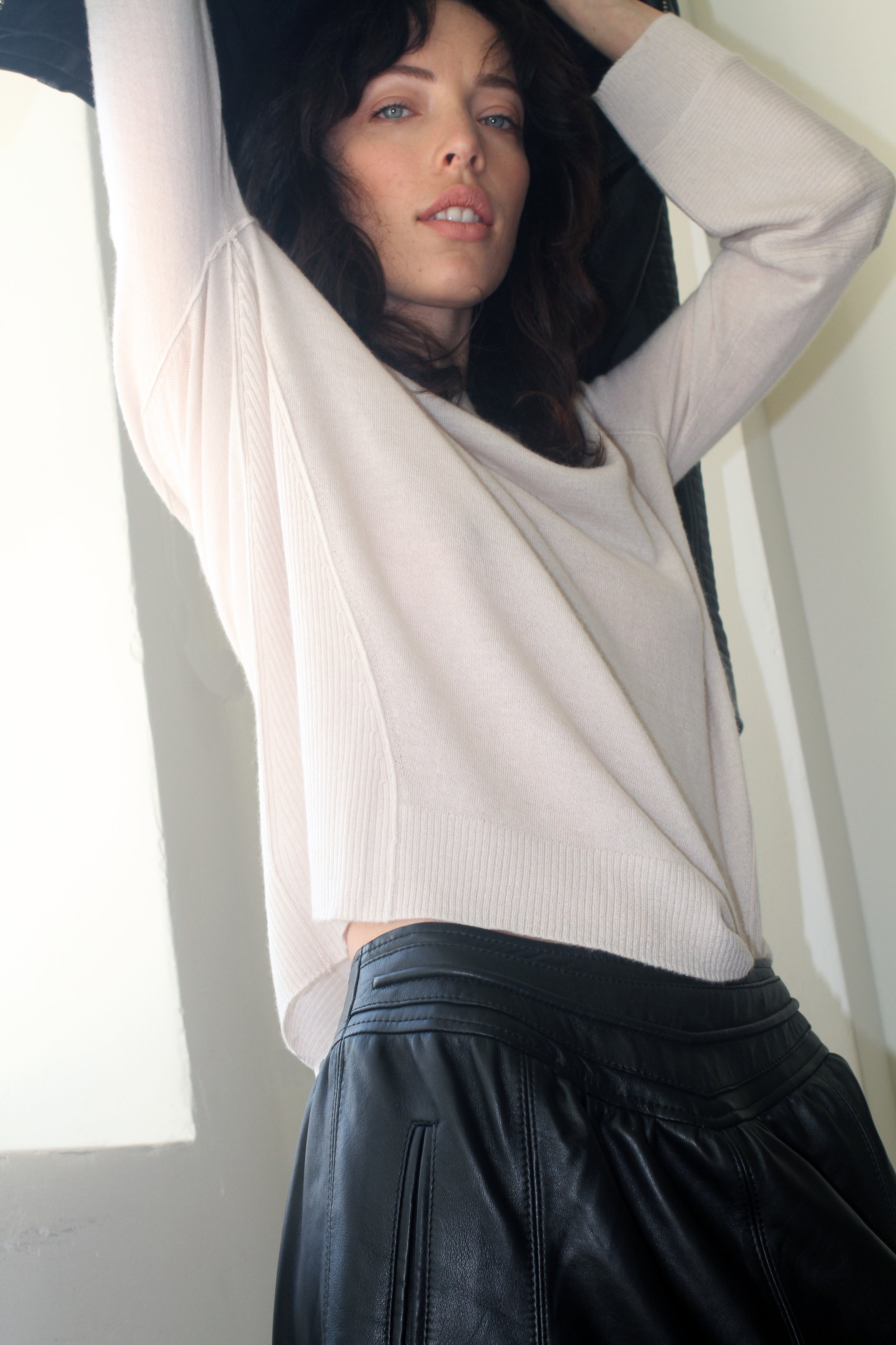 cashmere sweater & leather skirt | art dept. clothing