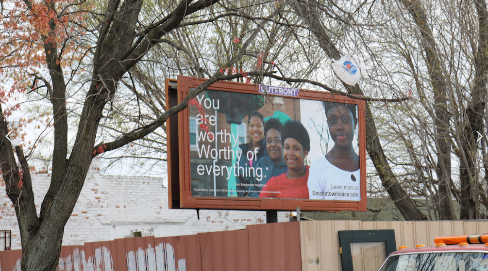 "One Poem At A Time     has replaced over 20 billboards since April 2017.    ""..Just as lead puts a chemical toxin into the environment, negative, concentrated outdoor advertising can put a social toxin into the environment based on the content it promotes. This is our 3rd campaign to lift up an intergenerational set of faces and voices who represent the positive aspects of our neighborhood and remind people that 'Smoketown is worthy!'"" (Josh Miller, Chief Operating Officer & Co-Founder, IDEAS XLab)"