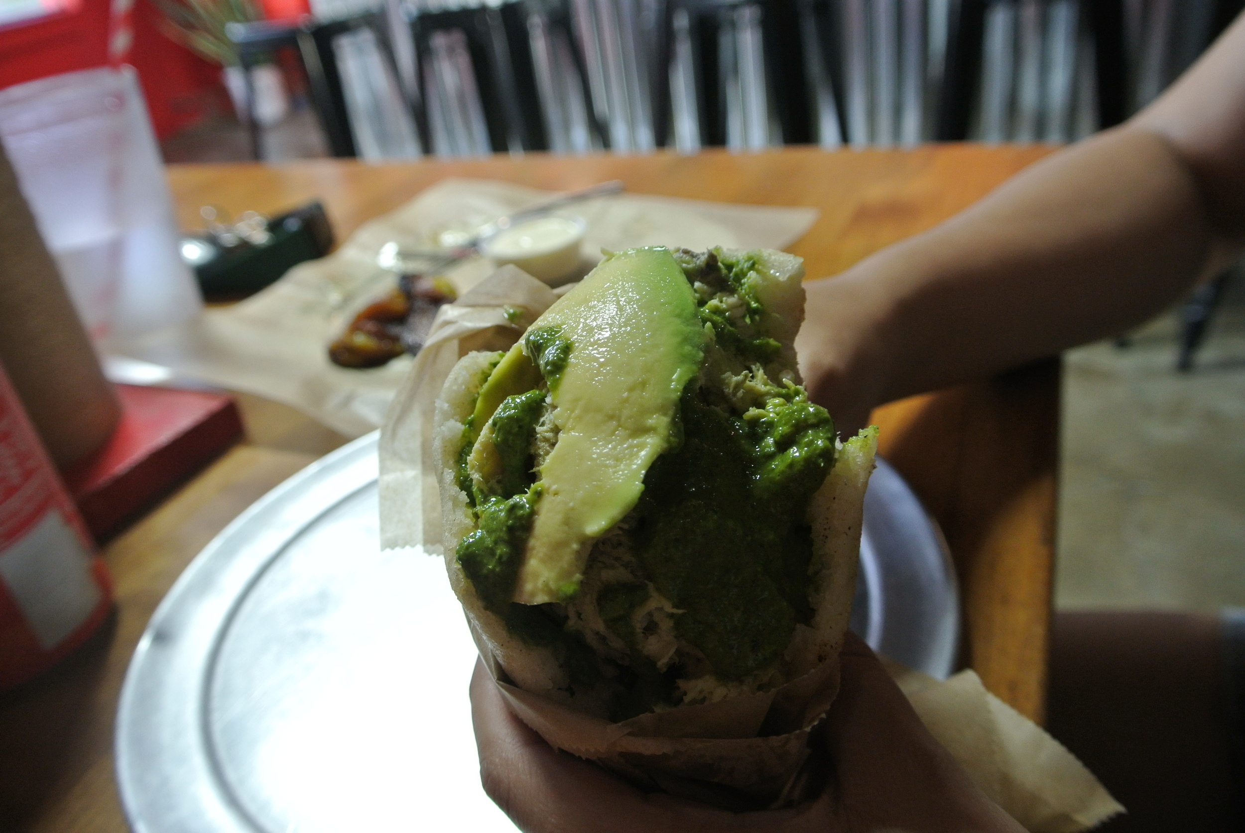 Reina pepiada (maybe): chicken with lime, cilantro, and avocado