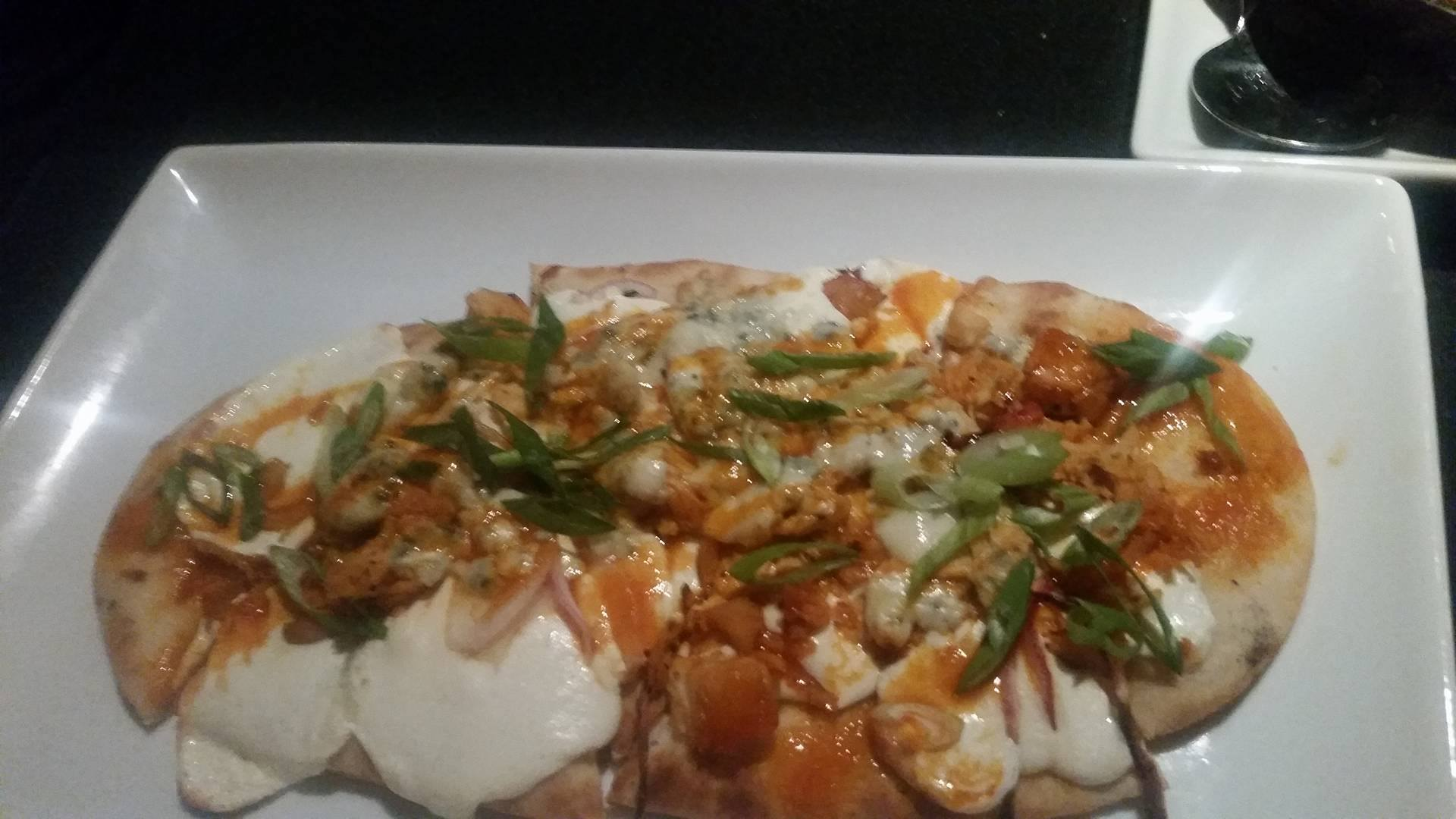 My buffalo chicken naan flatbread. Just the right balance of creamy and spicy.