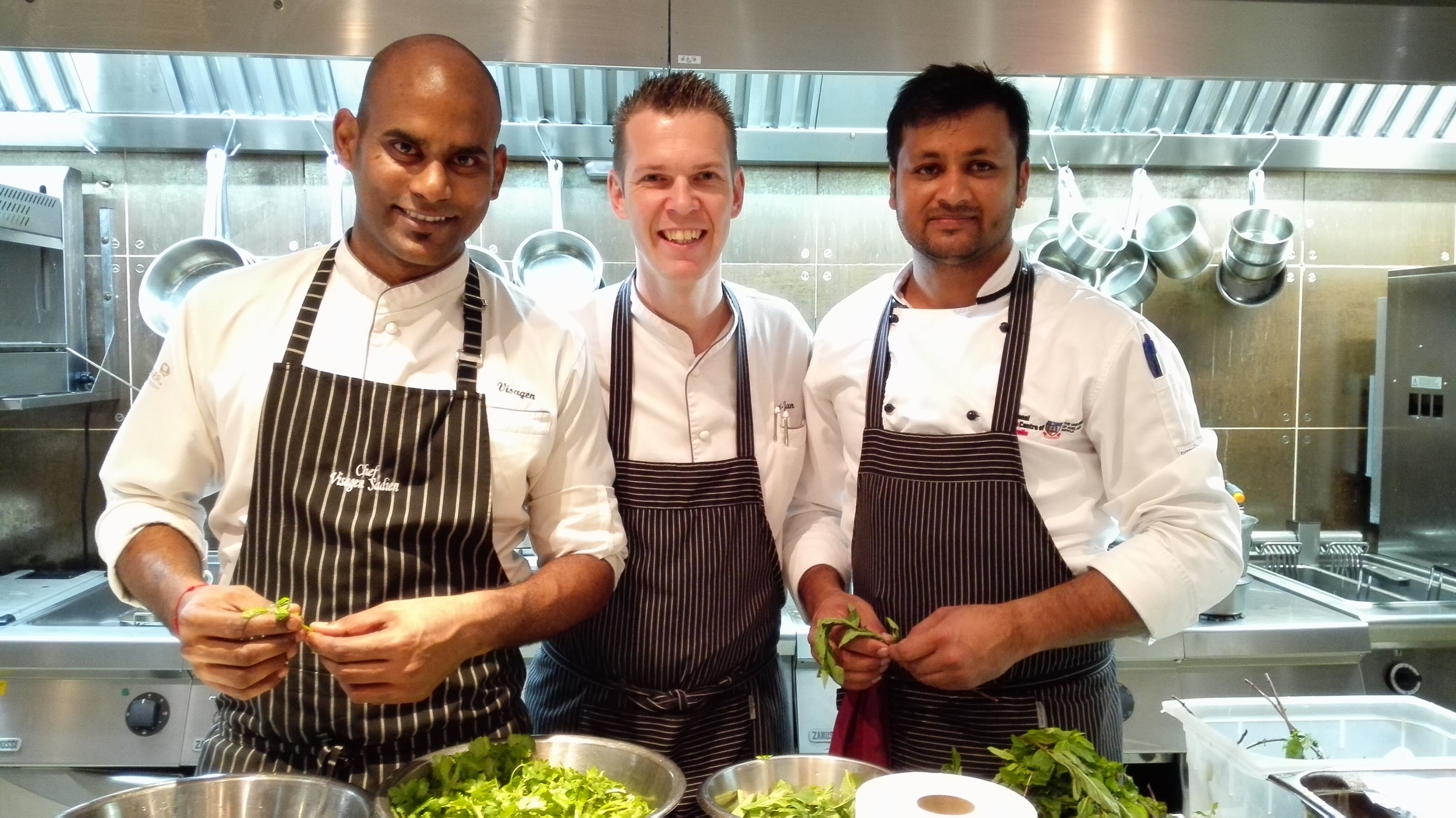 Chef Ajay (right) with Executive Sous Chef Sundaravelan Sadien (left) and Executive Chef Geert-Jan Vaartjes (centre)