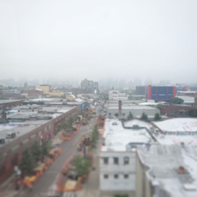 #skyscrapers capped by #fog from #smithandninth on the #ftrain #brooklyn #gowanus #tiltshift #grey #monsoonseason #nofilter #nyc