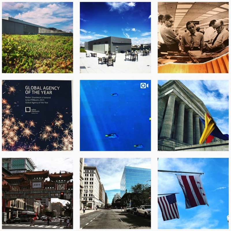 A collection of instas from the inside and surrounding area of a company in DC.