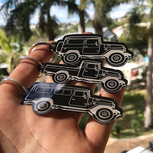 Been working on these for a while now, and safe to say I'm pretty happy with them. Who else loves the 40s?  #40series #fj40 #bj40 #landcruiser #lasercut #smallbusiness #toyota #keyring