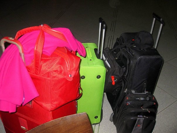 All the colorful luggage was mine of course! lol