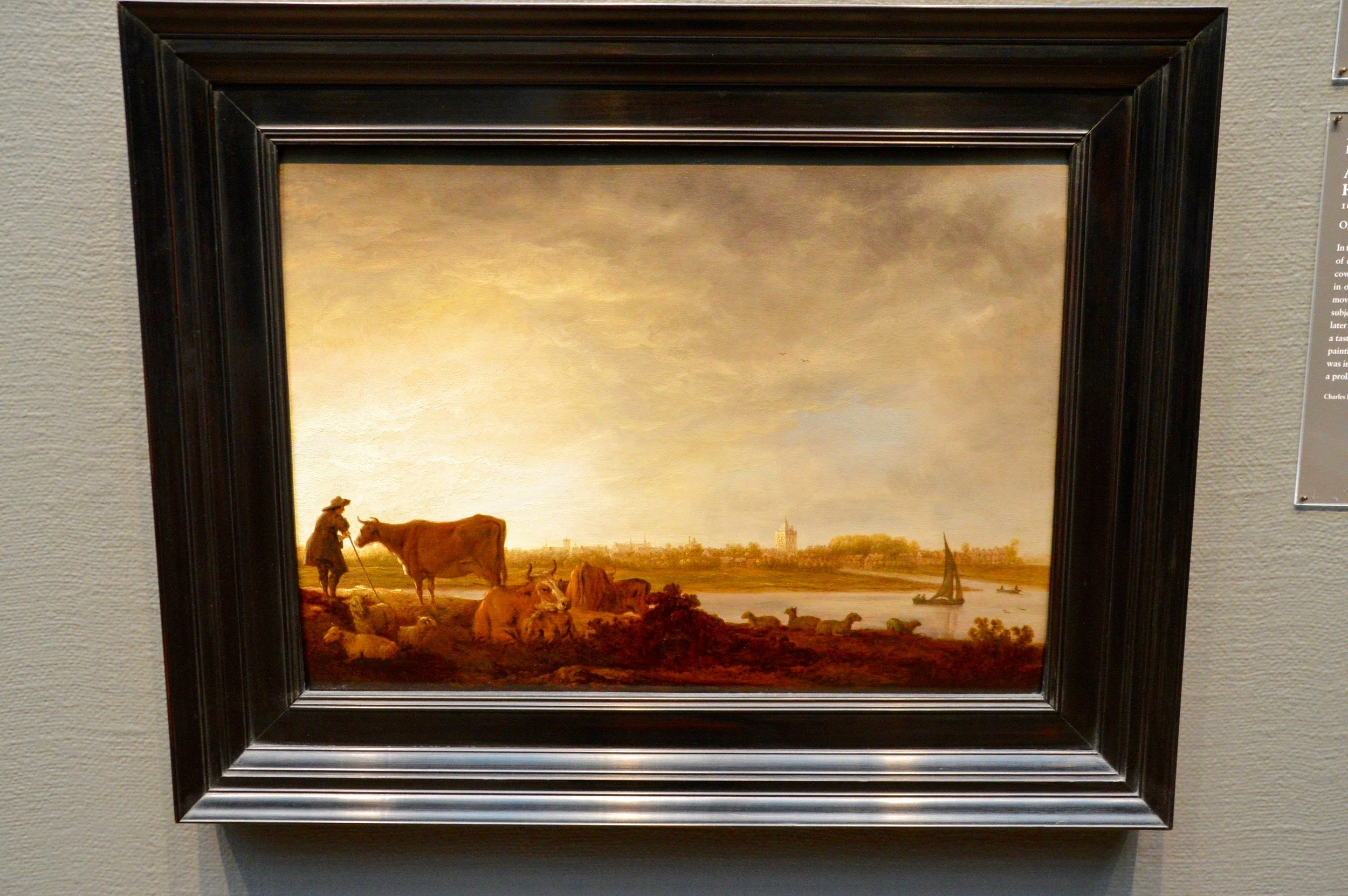 """Aelbert Cuyp  """"A View of Vianen with a Herdsman and Cattle by a River""""  (1620-1691)"""