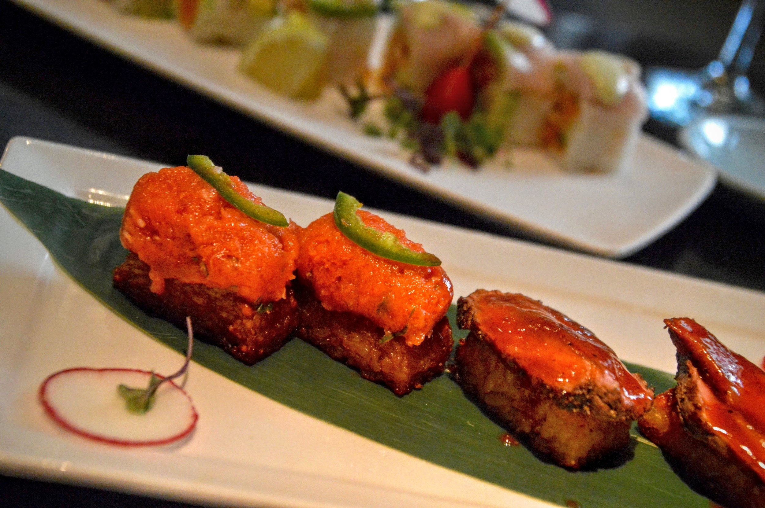 Koi Crispy Rice    - Topped with Spicy Tuna and Kobe Beef