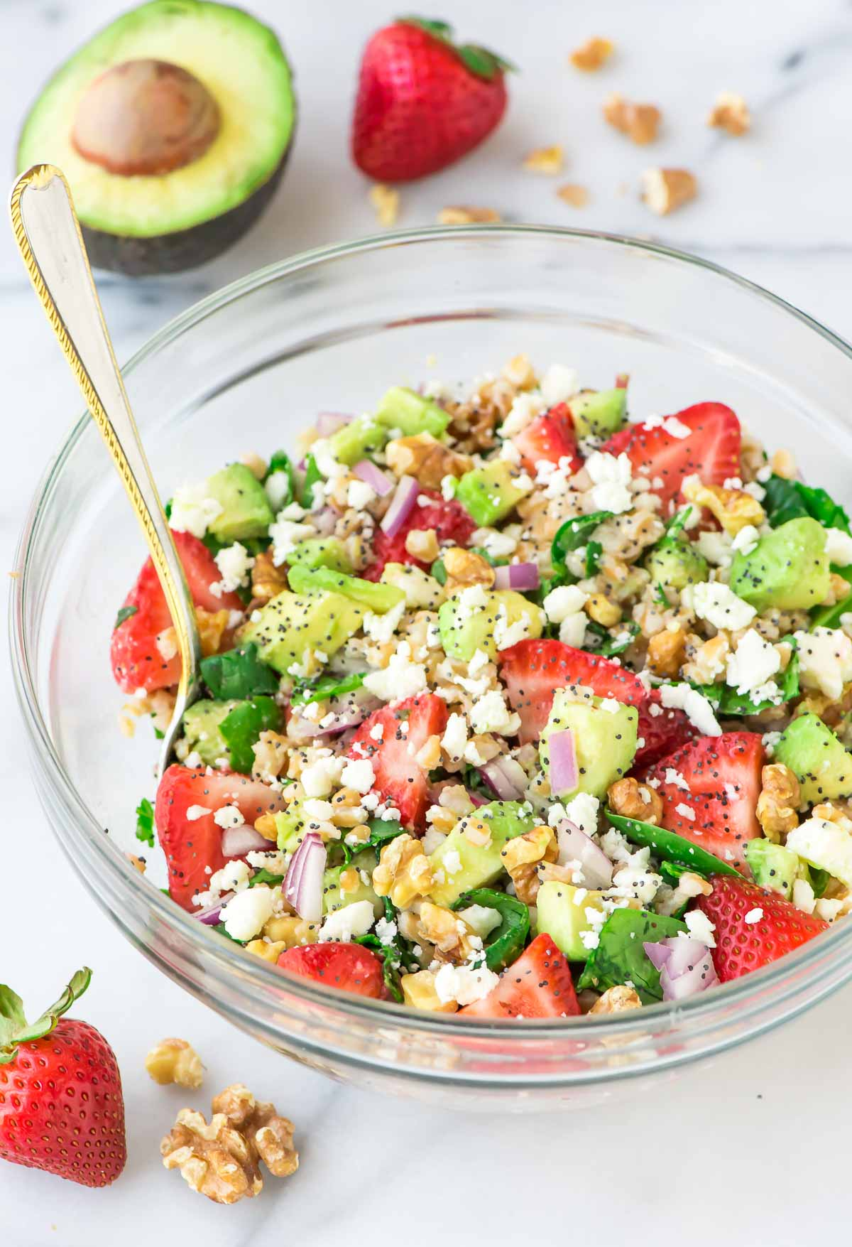 Strawberry Farro Salad with Avocado & Feta - by Well Plated