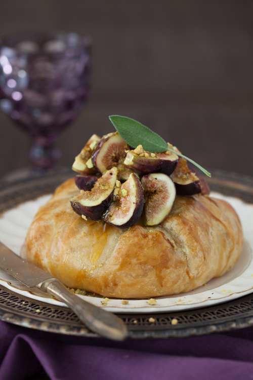 Baked Brie in Puff Pastry with Figs, Honey & Walnuts - by Cooking Melangery