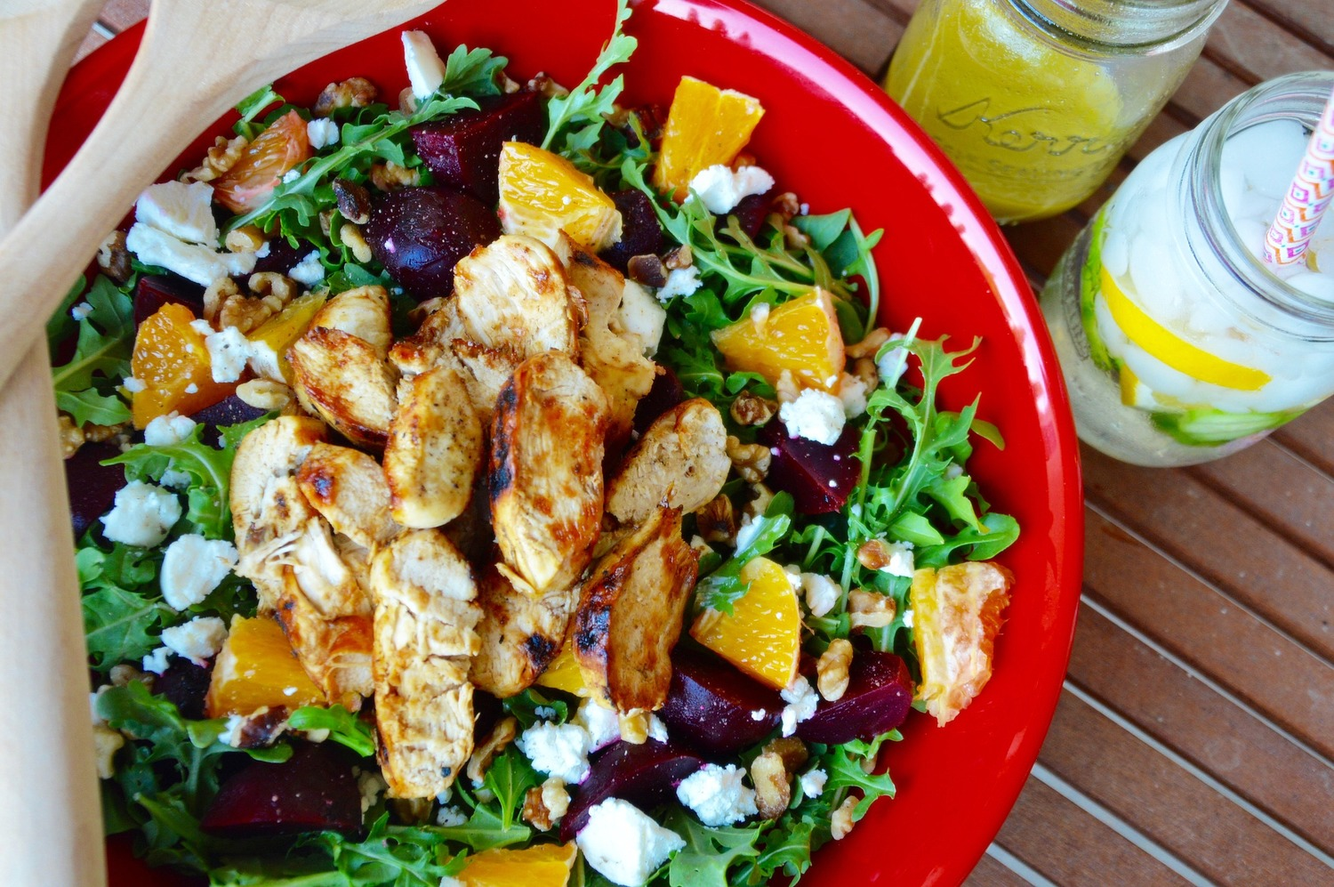 Grilled Chicken Beet & Goat Cheese Salad with Citrus Vinaigrette - by Kim's Fab Finds