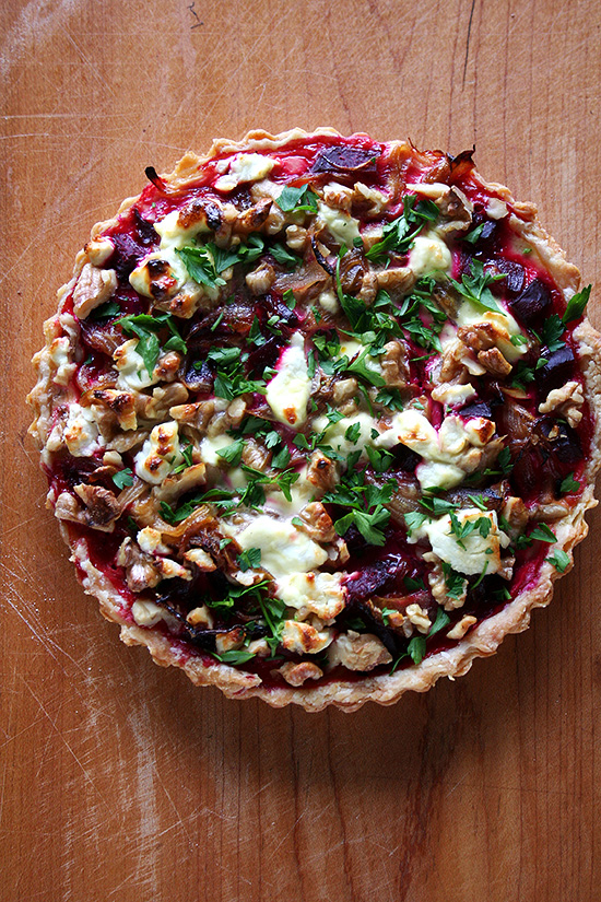 Gordon Hamersley's Beet, Goat Cheese & Walnut Tart - by Alexandra's Kitchen
