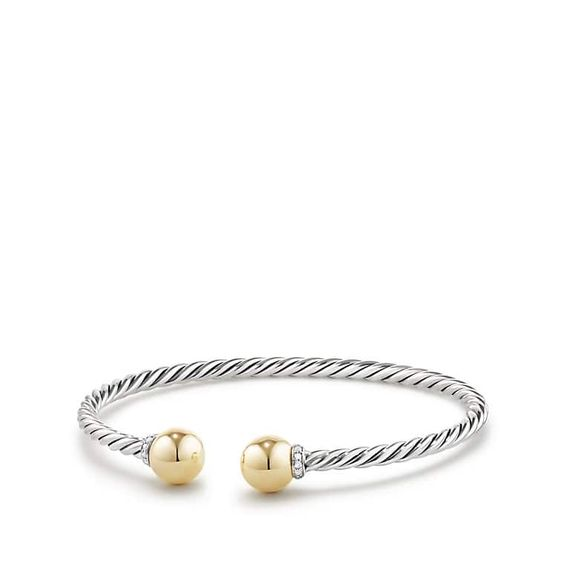 David Yurman Solari Bracelet with Diamonds and 18K Gold - I just think it would be lovely to own an iconic cable design by David Yurman. So simple, yet so sophisticated. An every day piece of jewelry if you ask me!