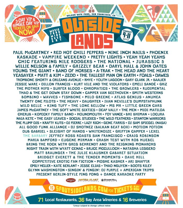 2013 Lineup - Had to sell my ticket last minute due to a family emergency :(