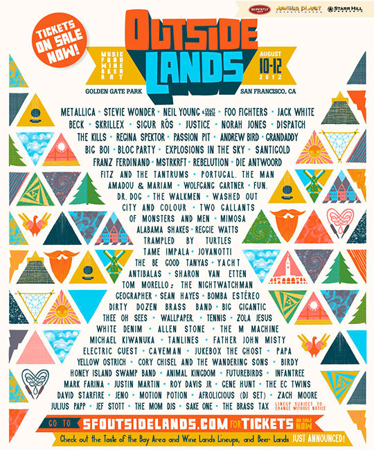 2012 Lineup - First Year Attending! Favorite Artists: Stevie Wonder, Skrillex, Regina Spektor, Passion Pit, Big Boi, Bloc Party, Santigold, Franz Ferdinand, Fitz and the Tantrums, City and Colour, Of Monsters and Men, Alabama Shakes, Birdy, Animal Kingdom!