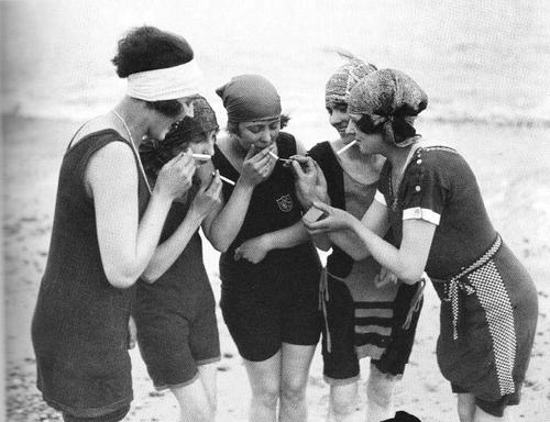Favourite Flapper pastimes...smoking, swimming