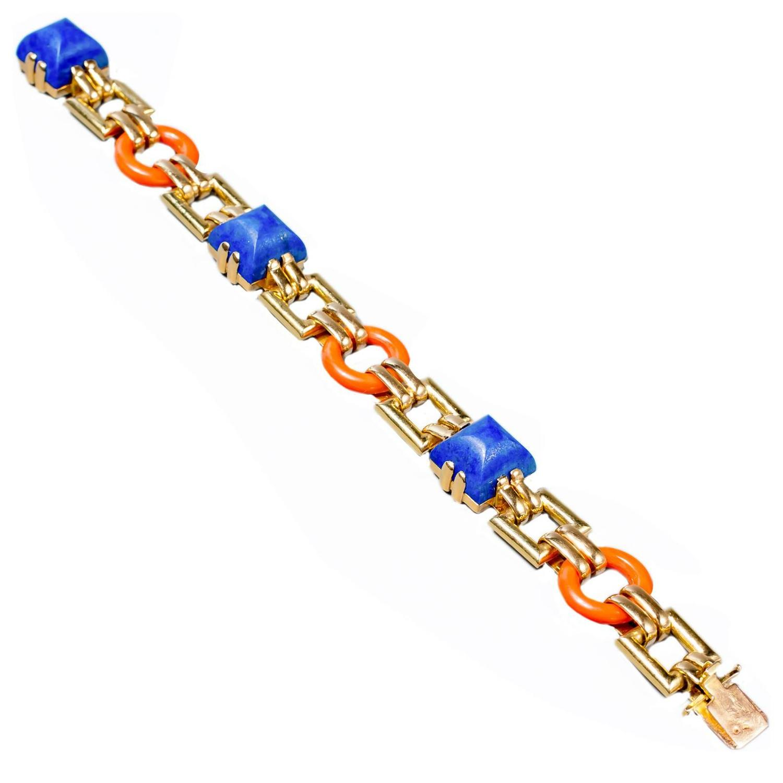 Cartier Coral Lapis Gold Link Bracelet
