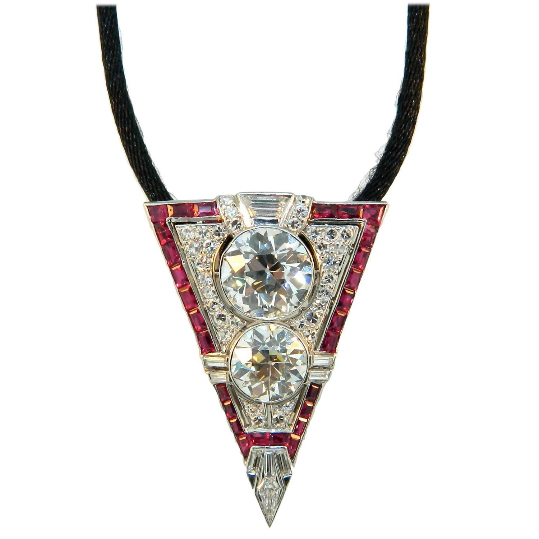 Ruby Diamond Platinum Necklace