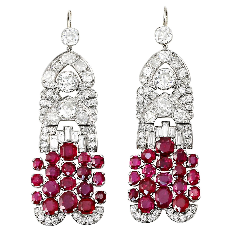 French Ruby Diamond Earrings