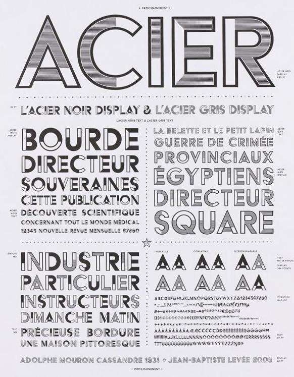 Acier Typeface, 1930-1934