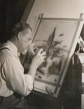 Arthur Radebaugh at his easel