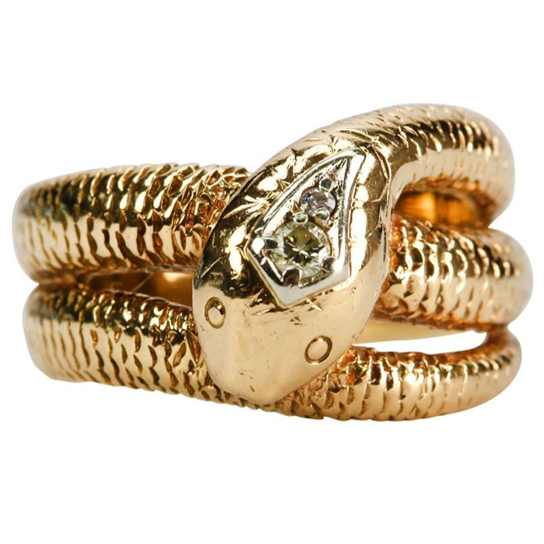 Art Deco Diamond Snake Gold Ring