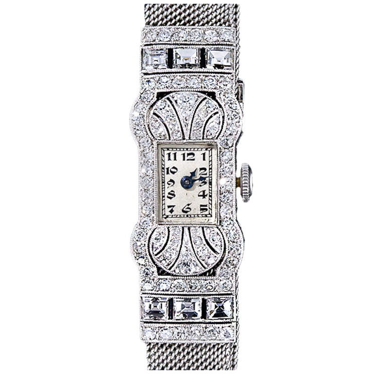 Gubelin Platinum and Diamond Mesh Band Watch