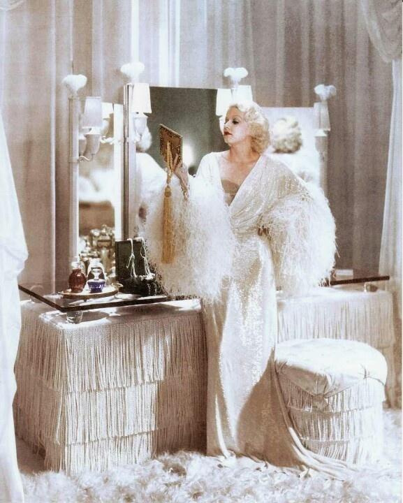 Jean Harlow at her spectacular Art Deco vanity.