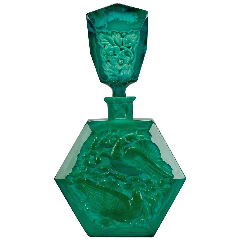 Curt Schlevogt Malachite Love Bird Perfume Bottle