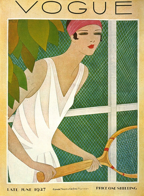 Art Deco Fashion - Vintage Vogue Cover, June 1927 - Tennis Player