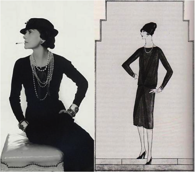 "Art Deco Fashion - Coco Chanel's classic LBD ""The Ford"" model - first introduced by Vogue in 1926"