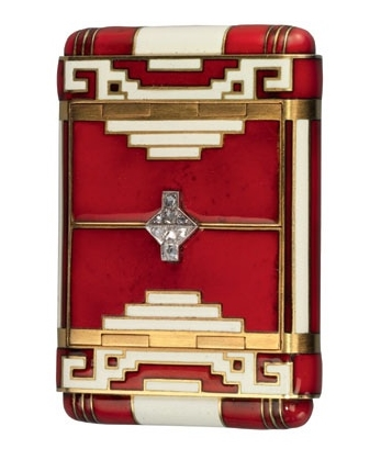 Art Deco Enamel, Gold & Diamond Cigarette Case