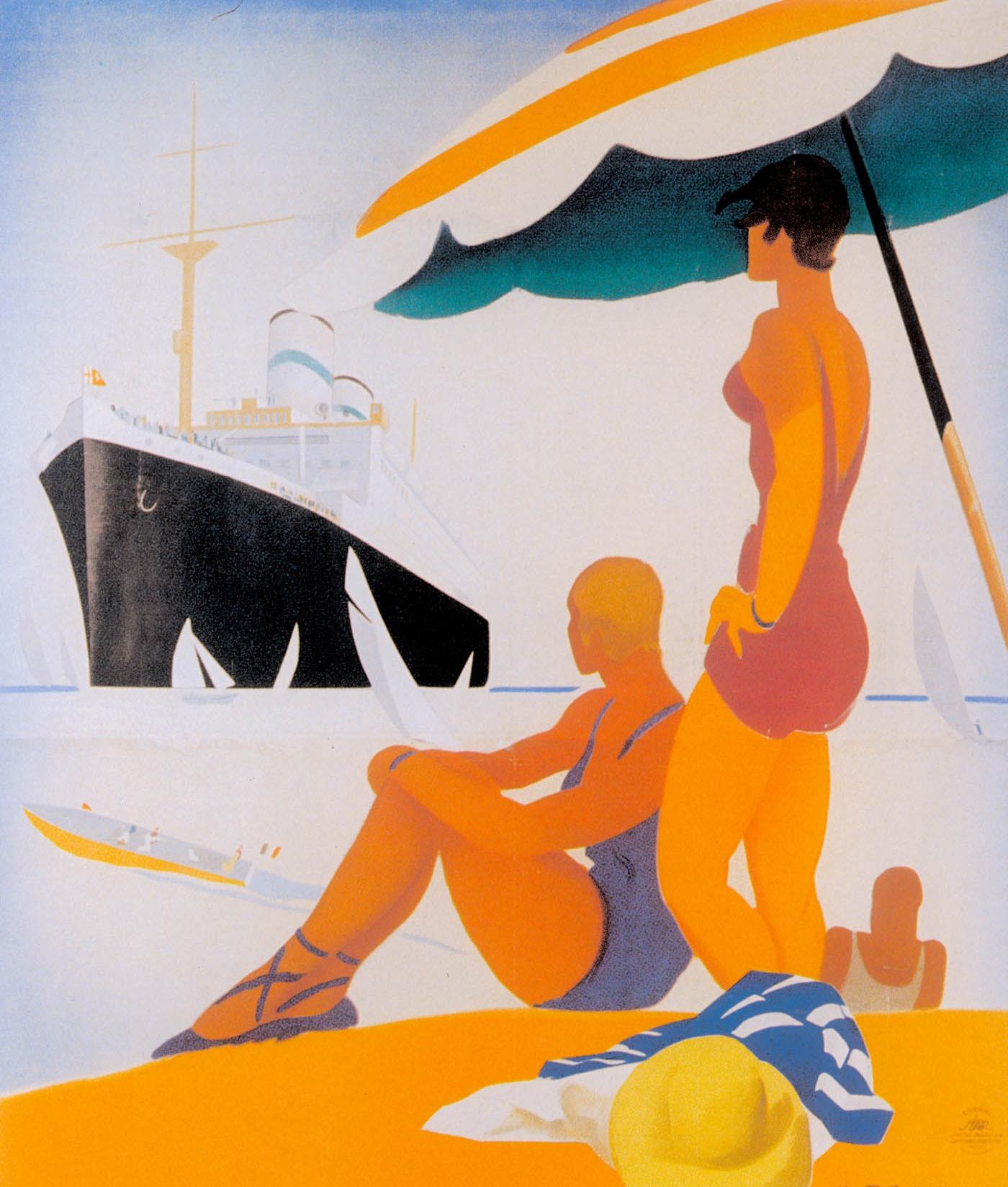 """""""Conte Verde"""" Art Deco travel lithograph, 1932. Image courtesy:  A   rtandartifice.com"""