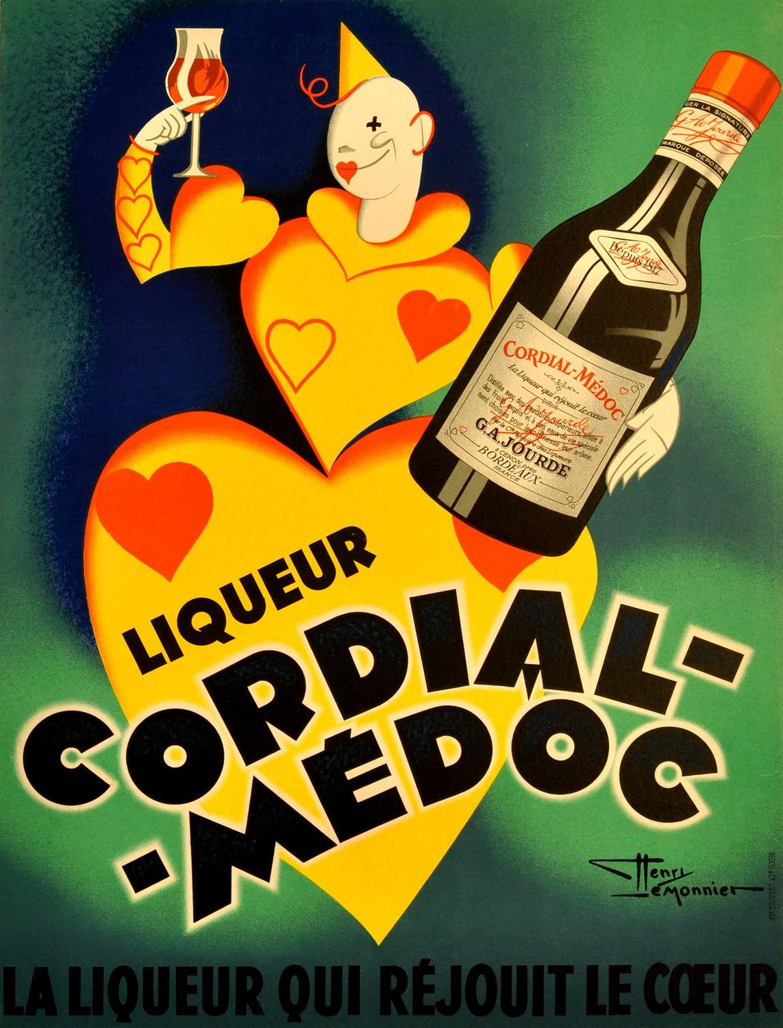 """Cordial-Medoc"" Art Deco Poster, 1920's"
