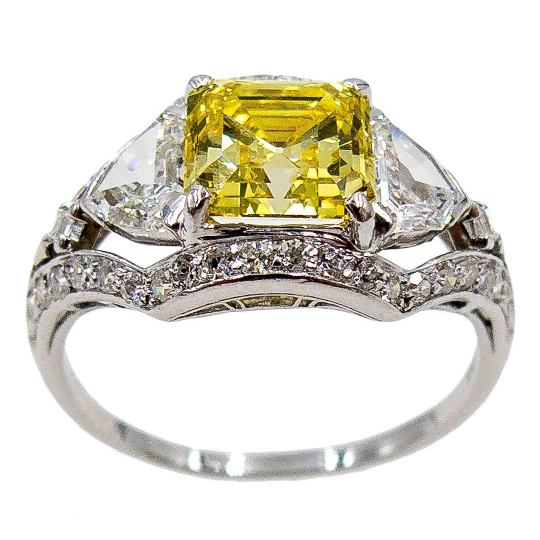 GIA Cert Yellow Asscher Cut Diamond Platinum Ring