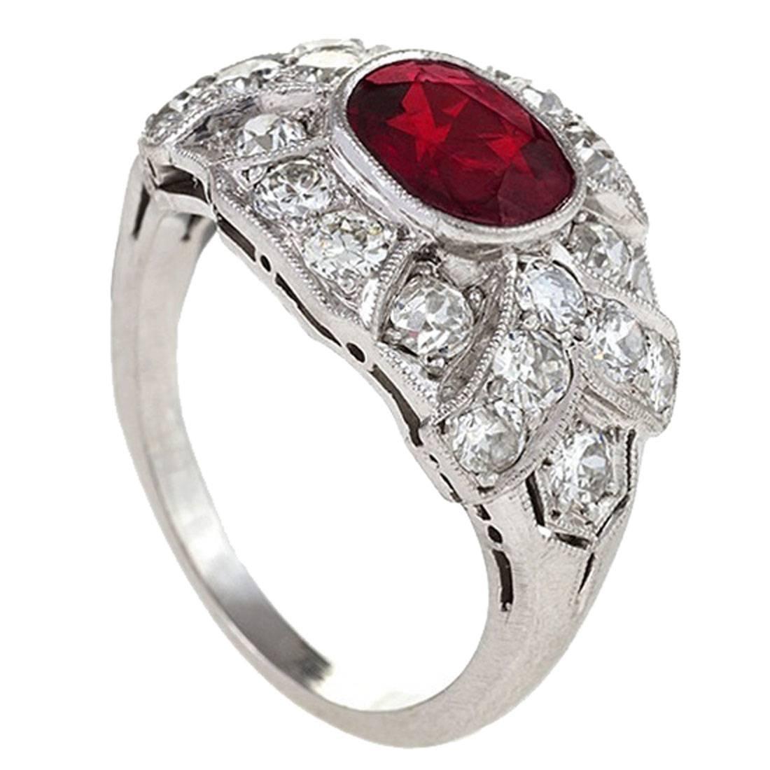 Art Deco 1.00 Carat Ruby Diamond Platinum Ring