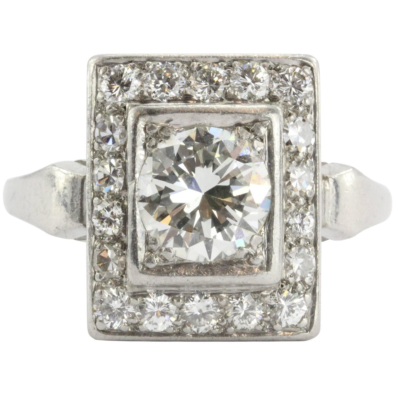Art Deco Emerald Rare Trillion Cut Diamond Platinum Engagement Ring