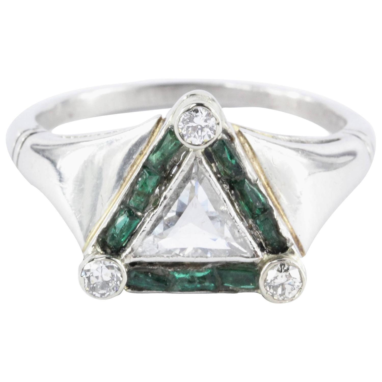 Emerald Rare Trillion Cut Diamond Platinum Engagement Ring