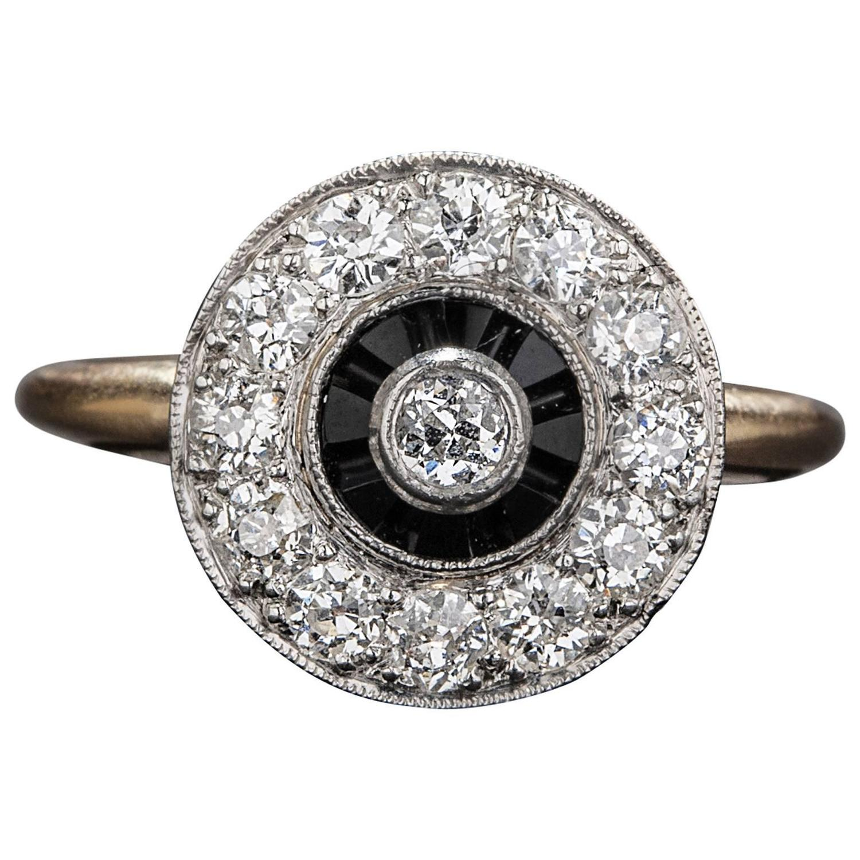 Diamond Onyx & Platinum 14k Yellow Gold Ring