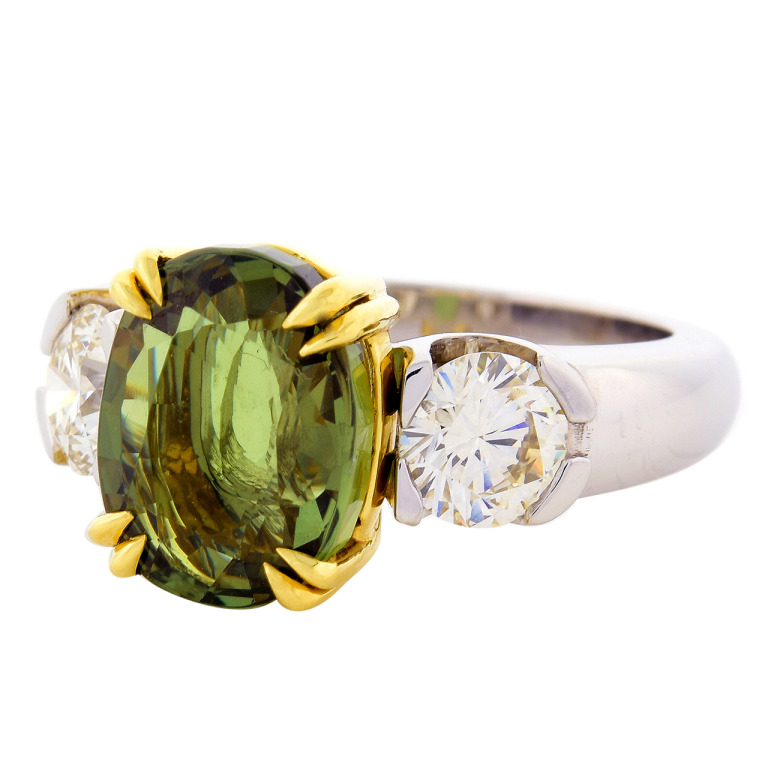 Peter Suchy Alexandrite Diamond Platinum Ring