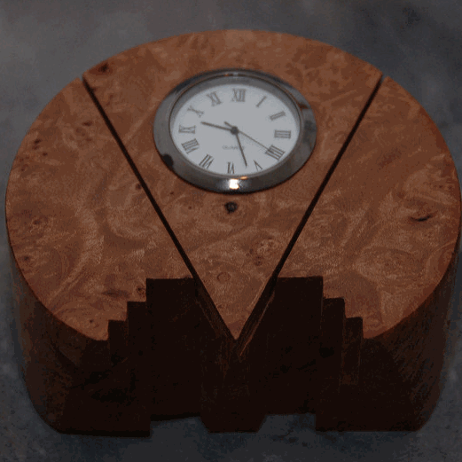 Hand Carved Art Deco Burl Wood Wall Clock