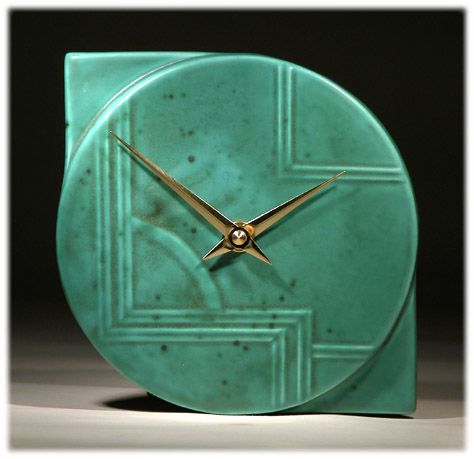 Turquoise Glaze Art Deco Wall Clock