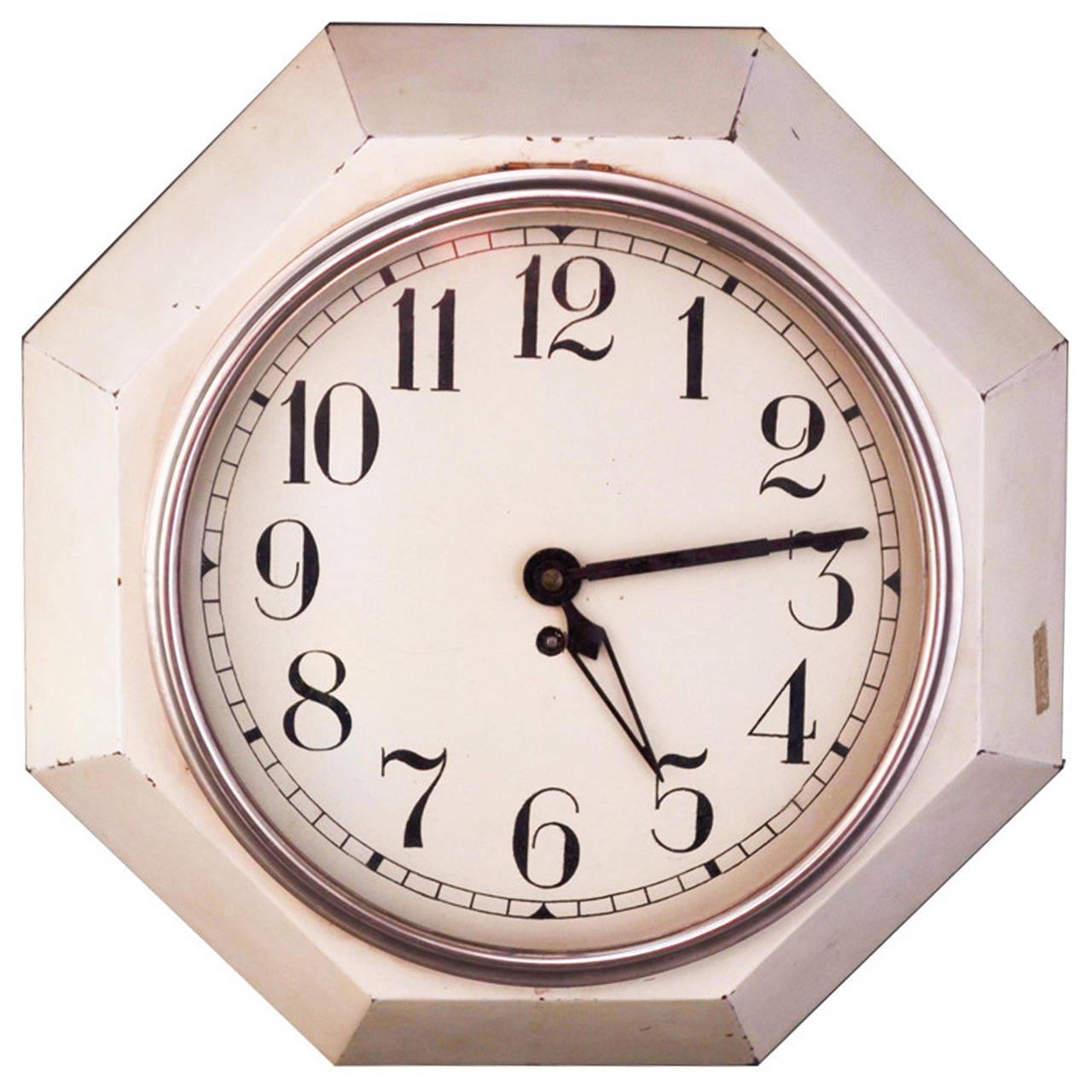 Adolf Loos Art Deco Octagonal Wall Clock