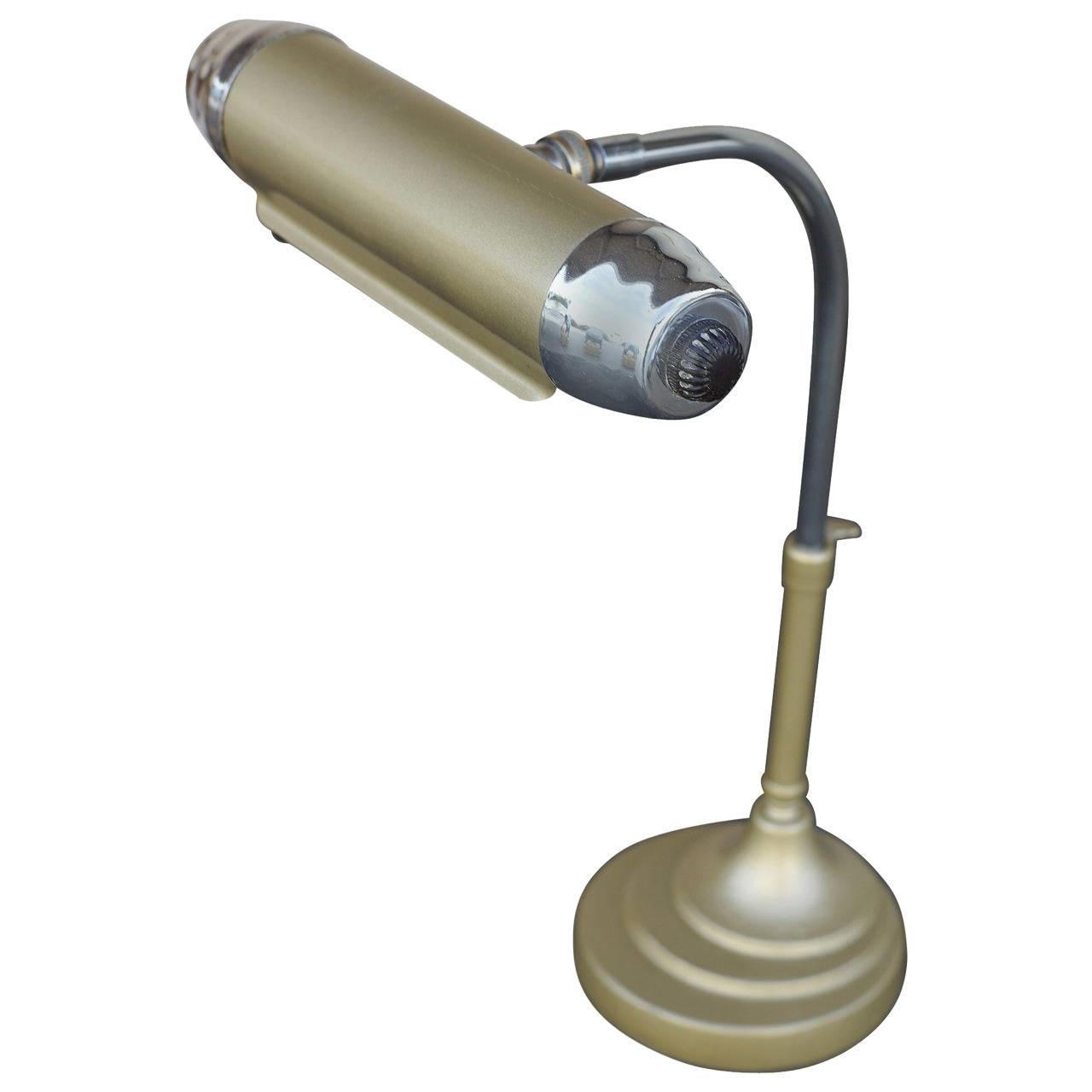 Art Deco Enamel and Chromium Streamline Desk Lamp