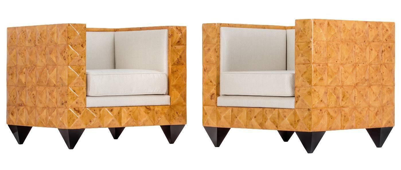 Stunning Pair of Unusual Art Deco Burr Walnut Geometric Pyramid Armchairs - Image courtesy:   1stdibs.com