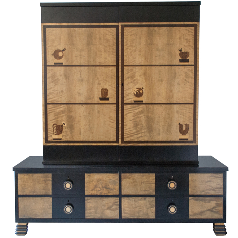 Swedish Art Deco Marquetry 2-part Cabinet by Otto Schulz for Boet - Image courtesy:   1stdibs.com