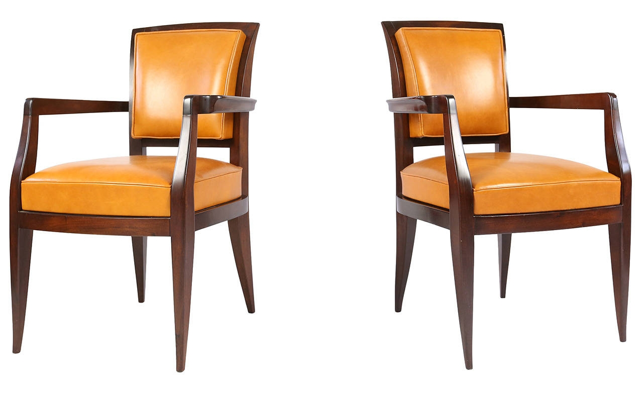 Pair of Tangerine Leather and Wood Chairs by  Émile-Jacques Ruhlmann - Image courtesy:   1stdibs.com