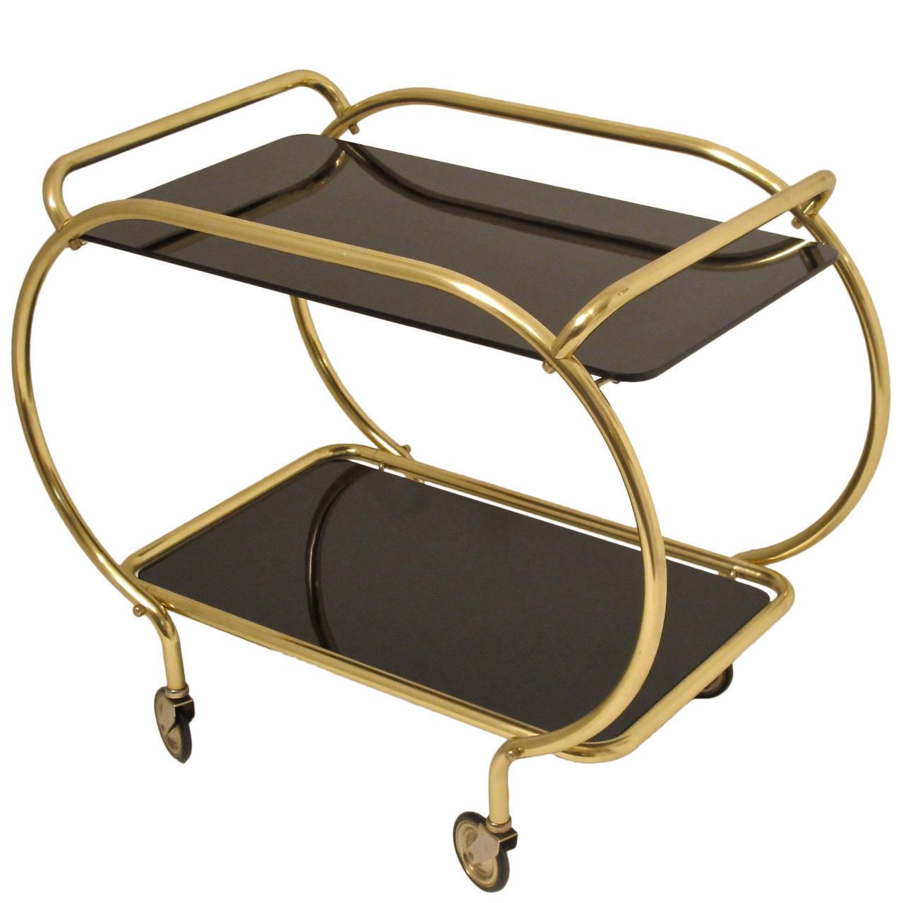 Art Deco Brass and Vitrolite Bar Cart