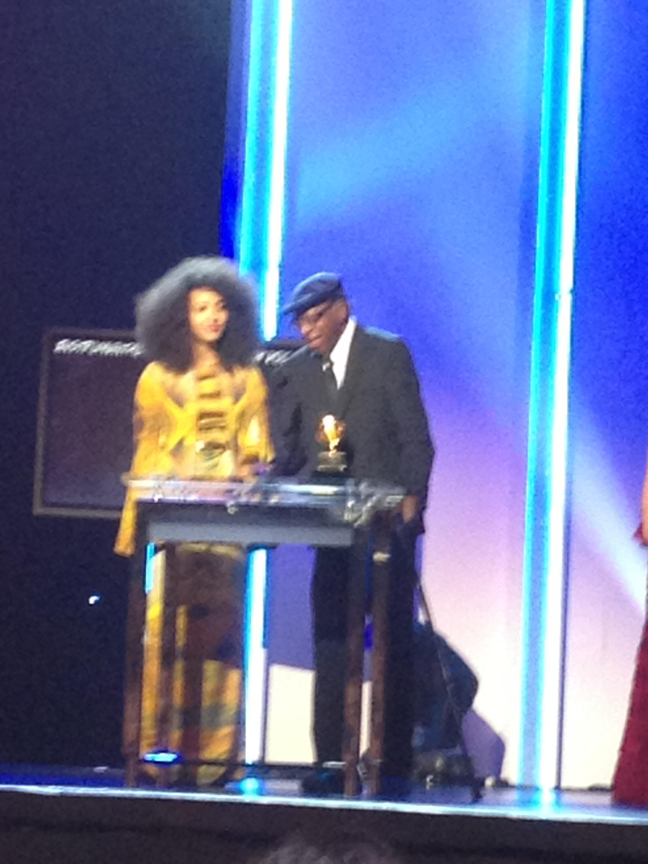 Esperanza Spaulding accepting Grammy.JPG